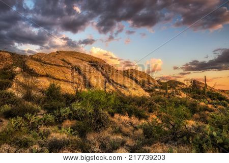 Sunset over Javelina Rocks in Saguaro National Park East near Tucson, Arizona