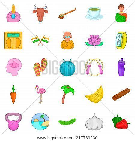 Spiritual development icons set. Cartoon set of 25 spiritual development vector icons for web isolated on white background