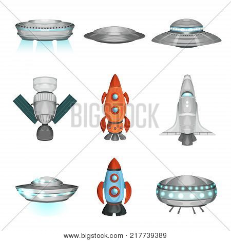 Detailed collection of spaceships spacecrafts, rockets, space satellite, alien ufo. Cartoon flying technology for traveling through universe. Cosmos, galaxy theme. Flat vector isolated on white.