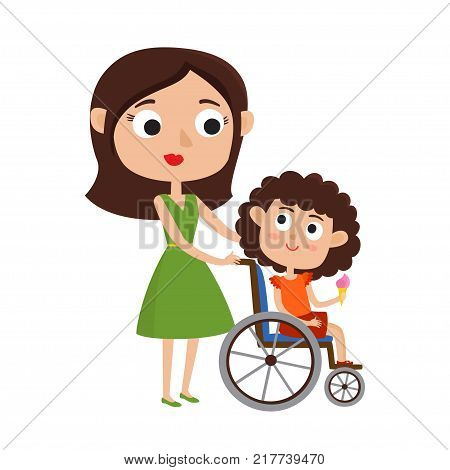 Vector illustration of Mom and smiling little daughter with ice cream on a wheelchair isolated on white. Cartoon  happy smiling mother and girl.