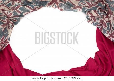 Decorative draping frame of the textile. Women's scarf red figure the British flag. White background top view
