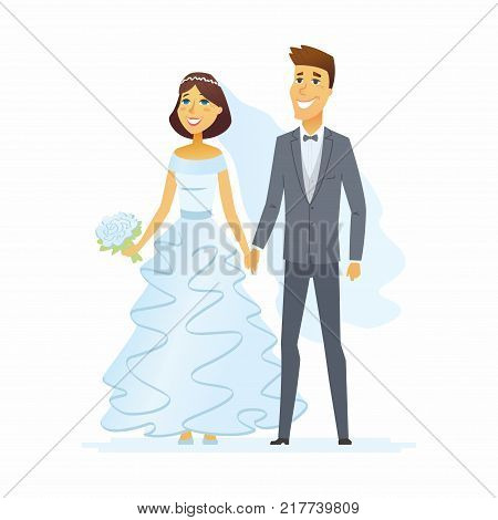 Wedding - cartoon people characters isolated illustration on white background. Happy newly married couple holding hands. A pretty woman in a beautiful white dress, handsome man wearing a suit