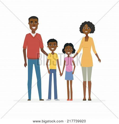 Happy African family - cartoon people characters isolated illustration on white background. Smiling young parents standing with children and hugging them