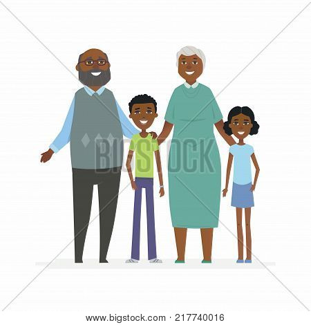 Happy African grandparents - cartoon people characters isolated illustration on white background. Smiling grandmother and grandfather hugging their grandchildren