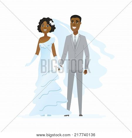 Wedding - cartoon people characters isolated illustration on white background. Happy newly married African couple holding hands. A pretty woman in a beautiful white dress, handsome man wearing a suit