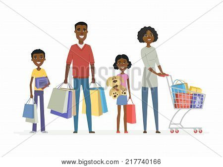 African family goes shopping - cartoon people characters isolated illustration on white background. Smiling parents with children carrying package with goods, gifts, toys. Father is holding a trolley