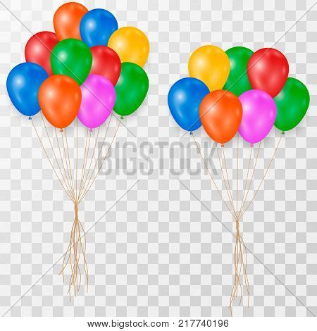 Bunches and groups of colorful helium balloons isolated on transparent background