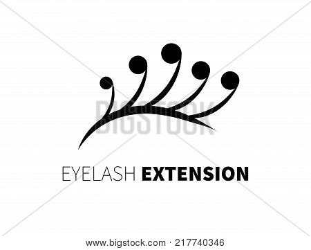 Creative icon eyelash extension. Logo mascara. Black eyelashes on a white background. Stock vector