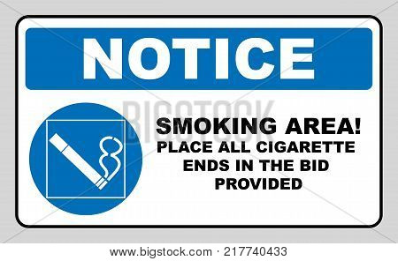 Smoking permited in this place icon. Smoking area. Round blue sign with white pictogram and black text. Vector illustration isolated on white. Mandatory symbol for public places and outdoors. Notice