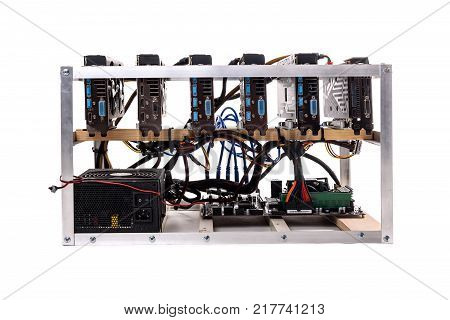 Cryptocurrency Bitcoin Ethereum Altcoin Graphic Card Miner Mining Rig.