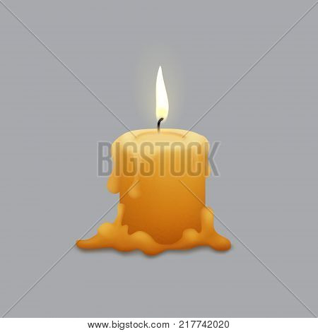 Melted candle with flame, isolated vector. Melted wax.