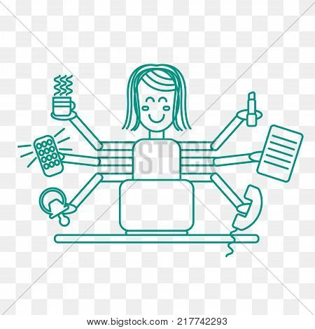 Woman freelancer with six hands working at  computer. Remote staff at workplace. Balance of work and rest. Vector illustration