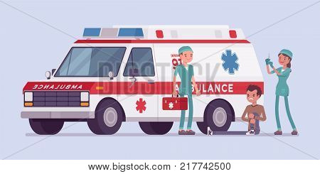 Doctors near the ambulance car. Team helping young man with injured or hurt leg, vehicle arrived at emergency call for help. Medicine and healthcare concept. Vector flat style cartoon illustration