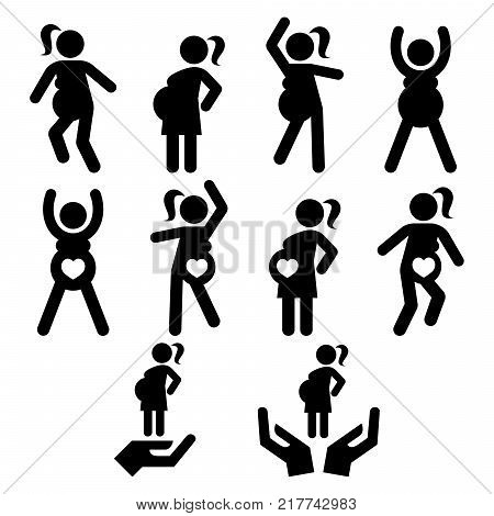 Pregnancy exercise, pregnancy yoga or pilates, pregnant woman doing fitness vector icons set