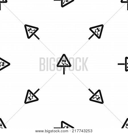 Slippery when wet road sign pattern repeat seamless in black color for any design. Vector geometric illustration