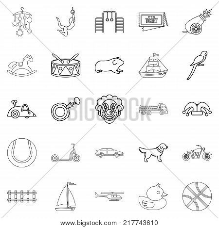 Puerility icons set. Outline set of 25 puerility vector icons for web isolated on white background