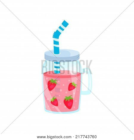 Strawberry cocktail in glass jar, summer time product cartoon vector Illustration on a white background