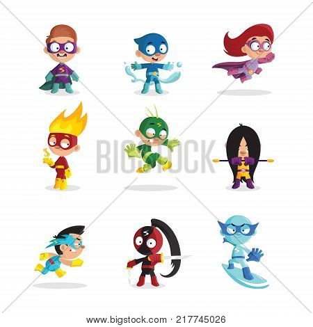 Kids in colorful superhero costumes set, funny boys and girls characters cartoon vector Illustrations on a white background