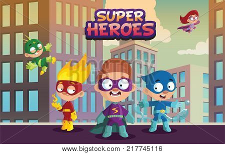 Team of super hero kids, funny boys and girls characters in colorful superhero costumes cartoon vector Illustration on an urban background, web design