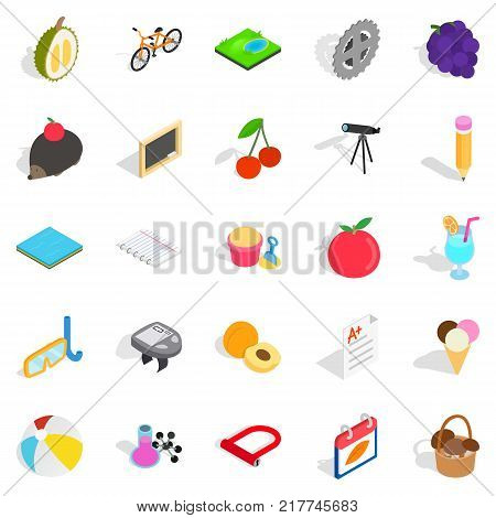 Education of children icons set. Isometric set of 25 education of children vector icons for web isolated on white background