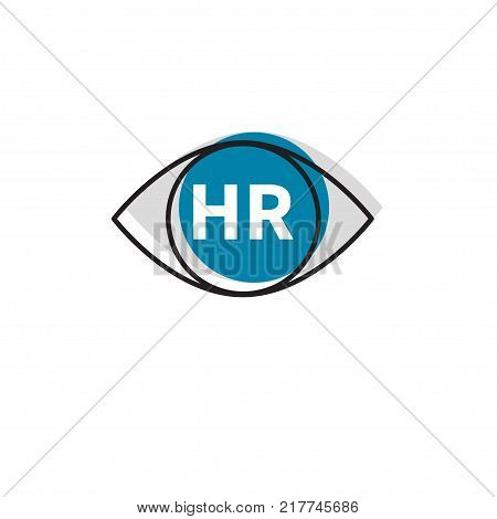 Icon HR. Logo human resources. Human resources. Department. Eye with letters HR. Vector illustration