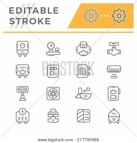 Set line icons of heating isolated on white. Editable stroke. Vector illustration