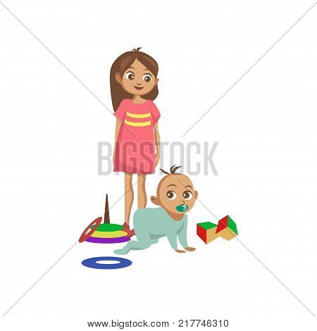 Toddler boy crawling on the floor, his sister standing next to him cartoon vector Illustration on a white background