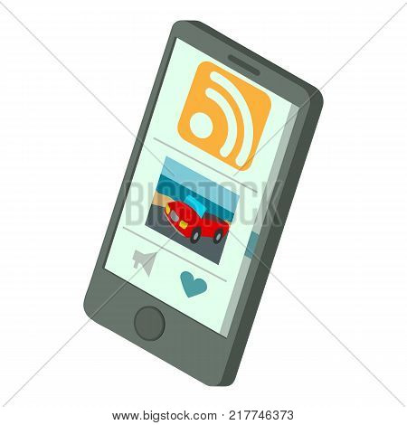 Rss phone icon. Isometric illustration of rss phone vector icon for web