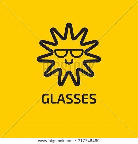 Sun wears glasses. Linear summer smiley, emoticon, emoji. Icon glasses shop. Stock vector