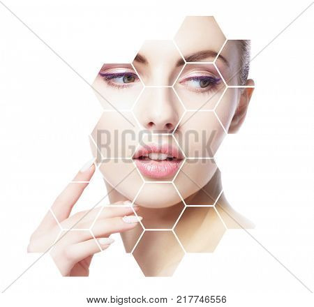 Portrait of young, healthy and beautiful girl. Plastic surgery, skin lifting, spa, cosmetics and medicine concept