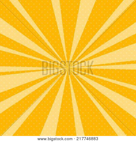 Retro Pop Art Background with Sunbeam, Dots on Yellow Background and the Sun's Rays , Illustration