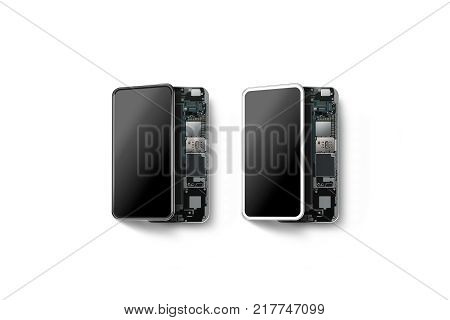 New modern smart phones with opened shell isolated chip motherboard processor cpu and details 3d rendering. Smartphone inside. Cellphone chipset constitution. Telephone scecification disassembled