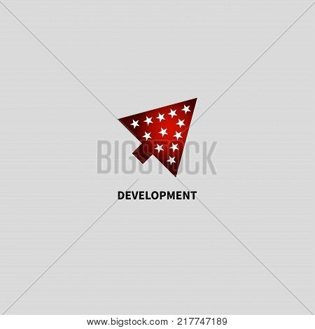 Cursor arrow directed up and to right. Gradient icon development. Logo start up, business project. Vector illustration
