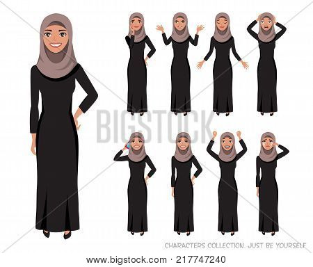 Arab women character is happy and smiling. Cartoon style women with hijab. Emotion of joy and glee on the women face. The women portrait.
