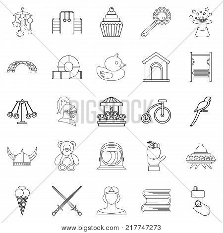 Time kid icons set. Outline set of 25 time kid vector icons for web isolated on white background