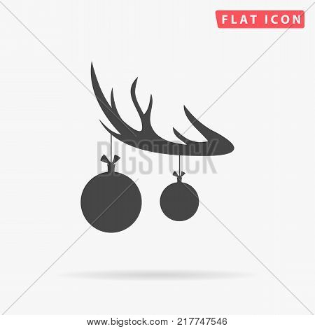 Black silhouette of deer horn with antlers and with christmas tree toy balls on horns. vector flat icon isolated on white background. Christmas card.