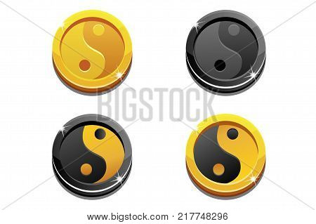 Illustration cartoon coins golden Yin Yang on white background