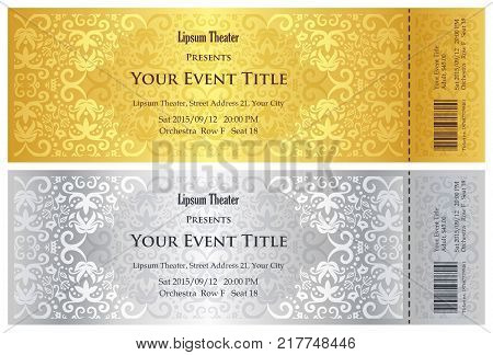 Exclusive golden and silver theater ticket with vintage pattern