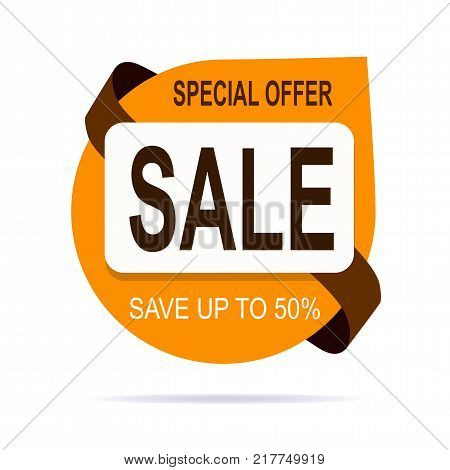 Original brown offer sale tag vector illustration. Discount offer price label, symbol for advertising campaign in retail, sale promo marketing, fifty percent off discount sticker, ad offer on shopping day