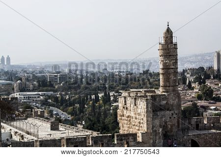Jerusalem Israel. View of the old town. Monuments of Muslims Jews Arabs. Noon.