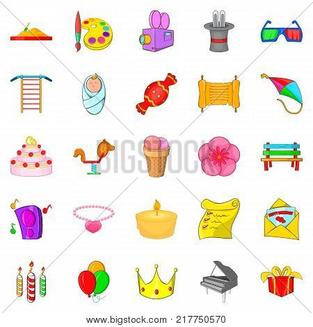 Birthday icons set. Cartoon set of 25 birthday vector icons for web isolated on white background