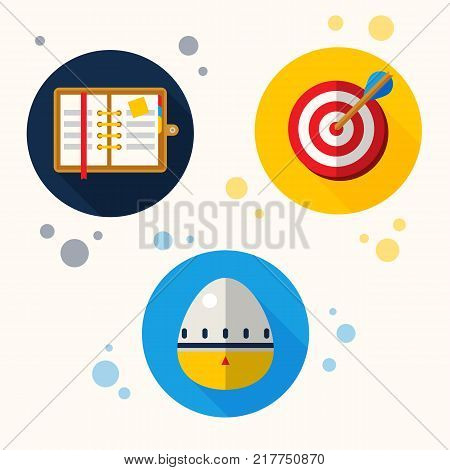 Self organization flat style icons set include paper organizer, target, egg timer