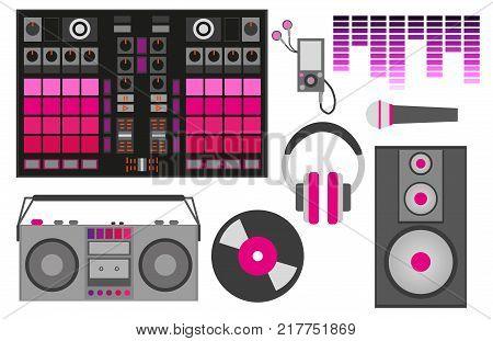 Vector Illustration With Pink Dj Accessories: Dj Control, Headphones, Speaker, Subwoofer, Equalizer,
