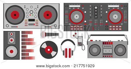 Vector Illustration With Red Dj Accessories: Dj Control, Headphones, Speaker, Subwoofer, Equalizer,