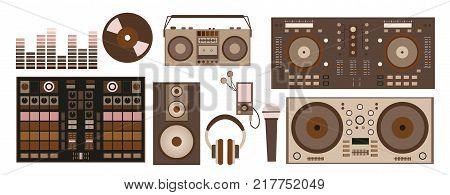 Vector Illustration With Retro Dj Accessories: Dj Control, Headphones, Speaker, Subwoofer, Equalizer