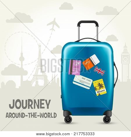 Modern blue plastic wheeled suitcase and european landmarks - tourism poster