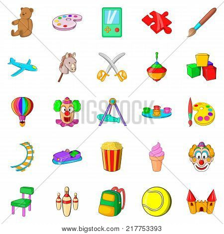 Children playground icons set. Cartoon set of 25 children playground vector icons for web isolated on white background