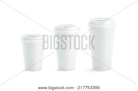 Blank white disposable paper cup mock ups with closed lids isolated, 3d rendering. Empty coffee drinking mug mockup front view. Clear tea take away plastic package, cofe shop branding template.