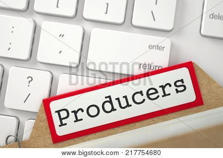 Producers written on Red Sort Index Card. Background of White Modern Computer Keyboard. Closeup View.  3D Rendering.