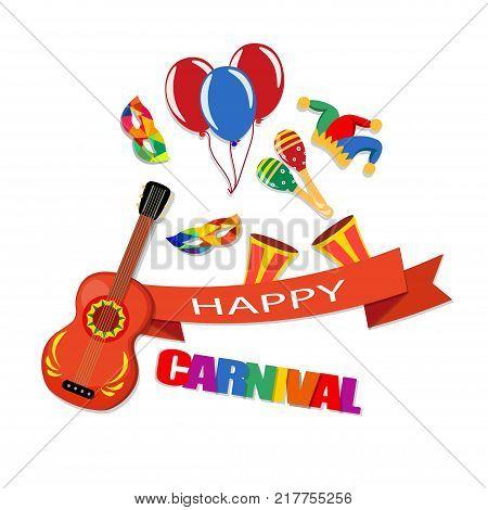 Happy Carnival. A tape with an inscription, a guitar, a cap, masks, balloons, maracas, drums Vector illustration